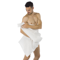 1 Eco Friendly Disposable SHOWER TOWEL in Biodegradable Viscose, FSC Certified Packaging