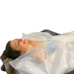 100 PRE-SOAPED WATERPROOF DISPOSABLE GRIPS For Personal Hygiene of the Patient in absorbent viscose + PE cm 16x25 gr. 65
