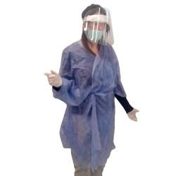 Kimono Monouso Traspirante fabbricato in Tessuto Non Tessuto di colore Blu