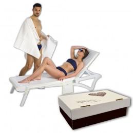 100 PUÑOS PREJABONADOS IMPERMEABLES DESECHABLES Para la Higiene Personal del Paciente en viscosa absorbente + PE cm 16x25 gr.65